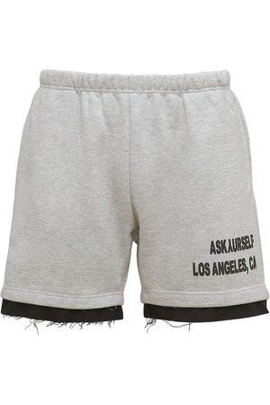 ASKYURSELF Men Shorts - Logo Print Cotton Jersey Shorts