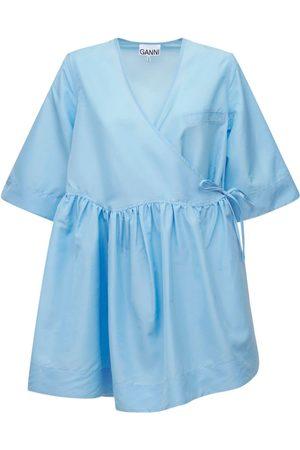 Ganni Recycled Taffeta Wrap Mini Dress
