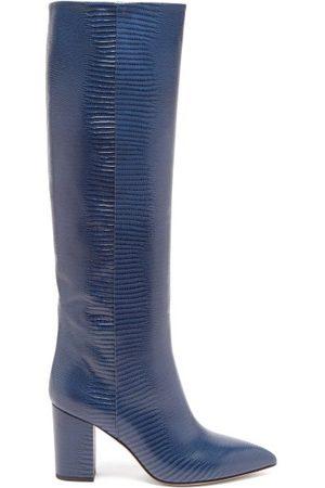 PARIS TEXAS Women Thigh High Boots - Knee-high Lizard-effect Leather Boots - Womens