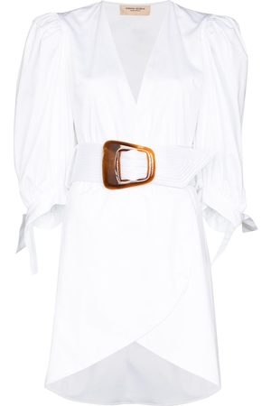 Adriana Degreas ADG PUFF SLV DRS DEEP V BELTED MINI WHIT
