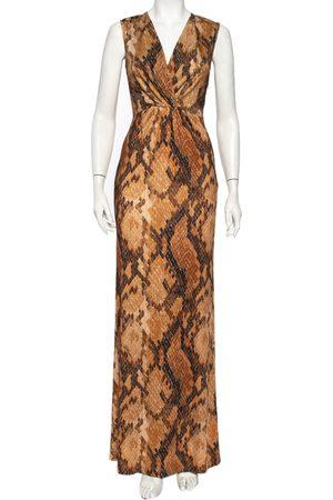 Roberto Cavalli Snakeskin Printed Jersey Faux Wrap Sleeveless Maxi Dress M
