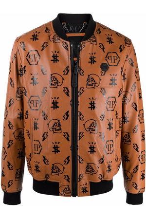 Philipp Plein Men Leather Jackets - Monogram-print leather bomber jacket