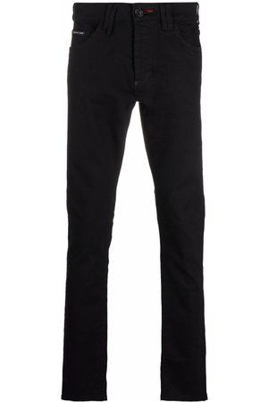 Philipp Plein Straight-cut embroidered-logo jeans