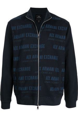Armani Men Sweatshirts - Logo print full zip sweatshirt