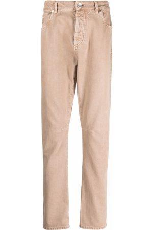 Brunello Cucinelli Embroidered logo straight jeans - Neutrals