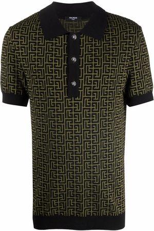 Balmain Men Polo Shirts - Monogram-pattern short-sleeve polo shirt