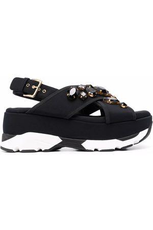 Marni Women Wedges - Embellished wedge sandals