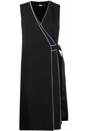 Karl Lagerfeld Contrast-piping wrap dress