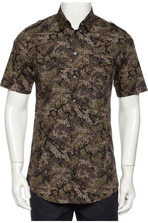 Dolce & Gabbana Pixel Camo Printed Cotton Short Sleeve Gold Shirt M