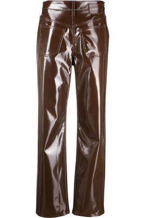 MM6 MAISON MARGIELA Women Straight Leg Pants - Patent straight-leg trousers