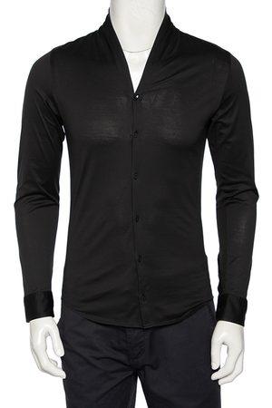 Emporio Armani Men Blazers - Cotton Shawl Lapel Collar Detail Button Front Shirt S