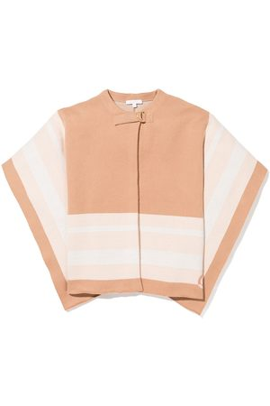 Chloé Girls Ponchos & Capes - Knitted striped buckled cape - Neutrals