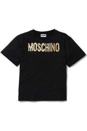 Moschino Girls Short Sleeve - Glitter logo short-sleeve T-shirt