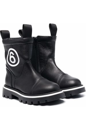 MM6 KIDS Rain Boots - TEEN logo-detail leather boots