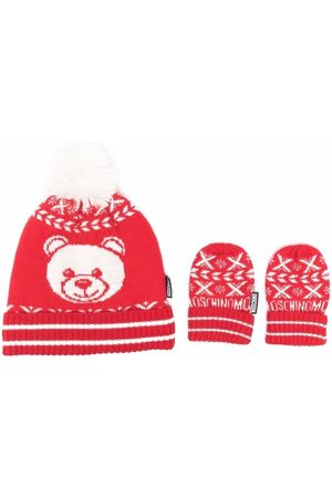 Moschino Hats - Knitted teddy hat and glove set