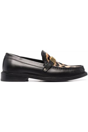 Moschino Men Loafers - Leopard-print logo loafers