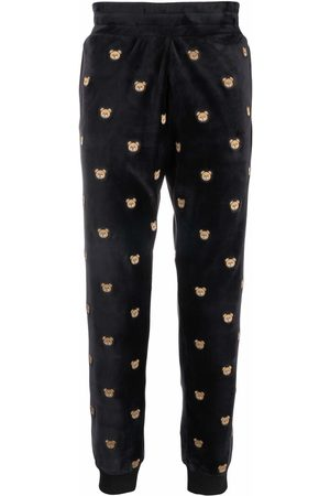 Moschino Teddy-embroidered velour track pants