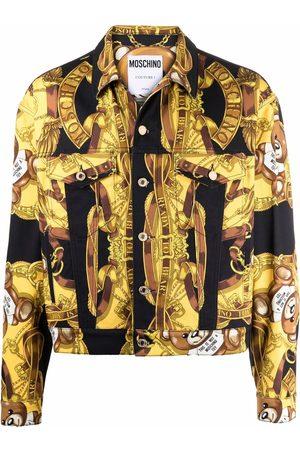 Moschino Men Fleece Jackets - Teddy scarf-print shirt jacket