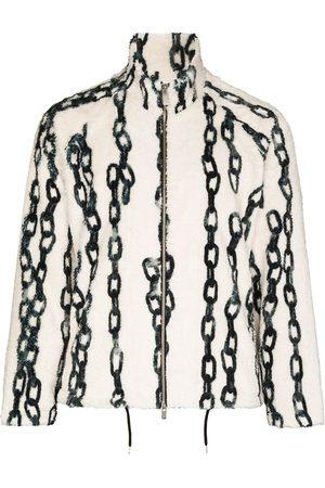 Sulvam Men Fleece Jackets - Chain-print fleece jacket