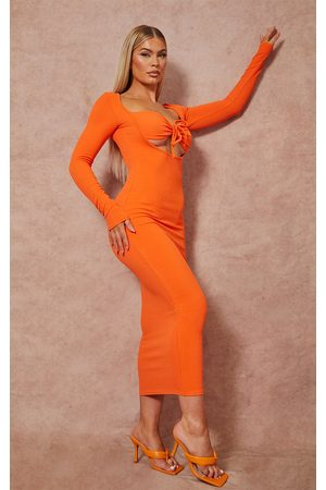 PRETTYLITTLETHING Women Long sleeves - Tie Bust Detail Long Sleeve Ribbed Midaxi Dress