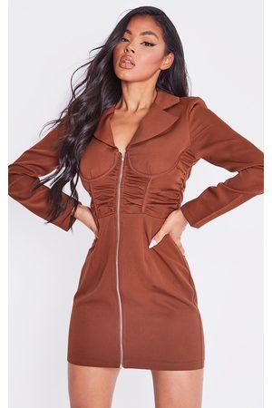 PRETTYLITTLETHING Women Long sleeves - Chocolate Long Sleeve Zip Through Underwire Blazer Dress