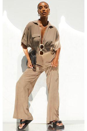 PRETTYLITTLETHING Women Jumpsuits - Stone Wrap Detail Slouchy Wide Leg Jumpsuit