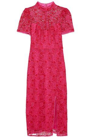 Ml Monique Lhuillier Woman Guipure Lace Midi Dress Fuchsia Size 10