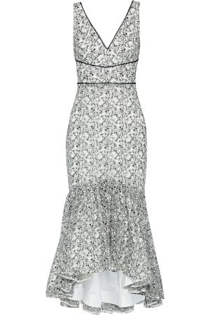 Ml Monique Lhuillier Woman Fluted Embroidered Tulle Midi Dress Size 10