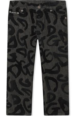 Dolce & Gabbana Logo-graffiti straight jeans - Grey