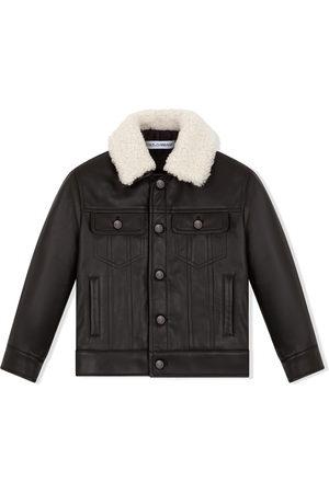 Dolce & Gabbana Contrast-collar leather jacket
