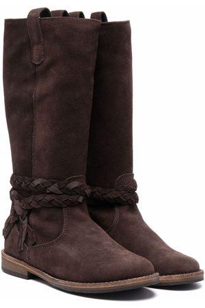 PèPè Girls Thigh High Boots - Braid-detail suede boots