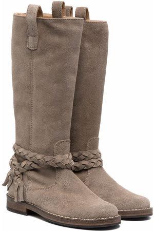 PèPè Girls Thigh High Boots - Knee-length braided suede boots