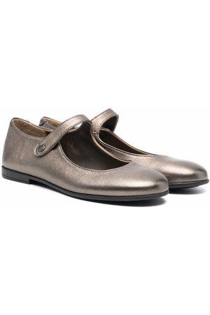 PèPè Metallic leather ballerina shoes