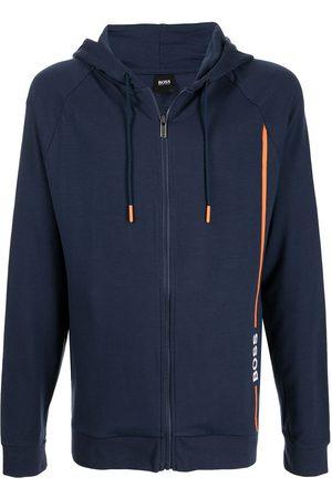 HUGO BOSS Logo-print contrast-trim zipped hoodie
