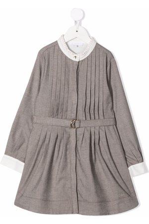 Chloé Check-print pleated dress - Neutrals