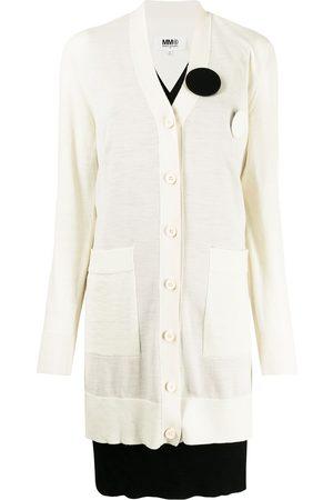 MM6 MAISON MARGIELA Double layer brooch cardigan dress - Neutrals