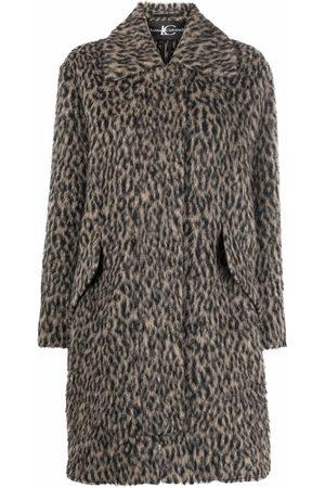Luisa Cerano Women Coats - Animal-print flap-pockets single-breasted coat - Neutrals