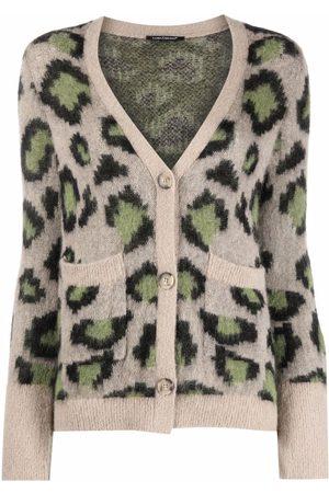 Luisa Cerano Animal-print V-neck cardigan - Neutrals