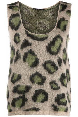 Luisa Cerano Animal-print scoop-neck knitted top - Neutrals