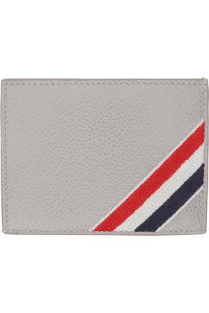 Thom Browne Grey Diagonal Stripe Card Holder