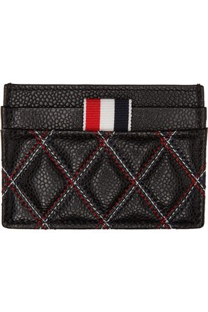 Thom Browne Black Quilted & Contrast Stitch Card Holder