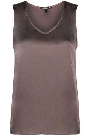 Luisa Cerano V-neck satin blouse - Grey