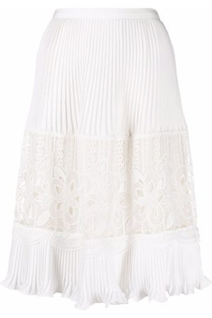 See by Chloé Lace-panelled pleated midi skirt - 121 CLOUDY