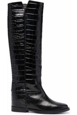Via Roma Women Thigh High Boots - Crocodile-effect knee-high boots