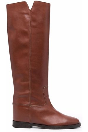 Via Roma Cut-out leather boots