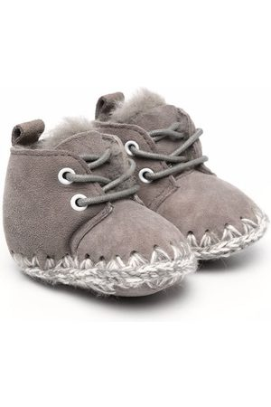 Mou Rain Boots - Knitted stitch detail boots - Grey