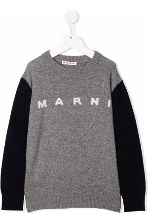 Marni Intarsia-knit logo wool-blend jumper - Grey