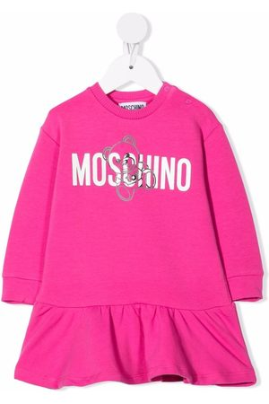 Moschino Baby Printed Dresses - Logo-print ruffle-trim dress