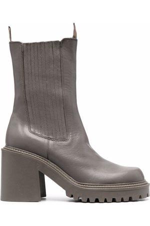vic matiè Women Boots - Almond-toe elasticated-panel mid-calf boots
