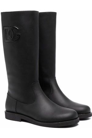 Dolce & Gabbana Embossed logo knee length boots